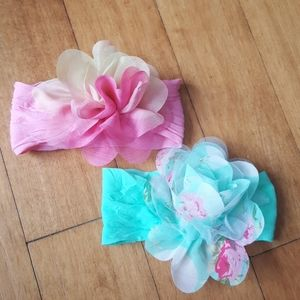 Other - Infant headbands with flowers pink/yellow mint